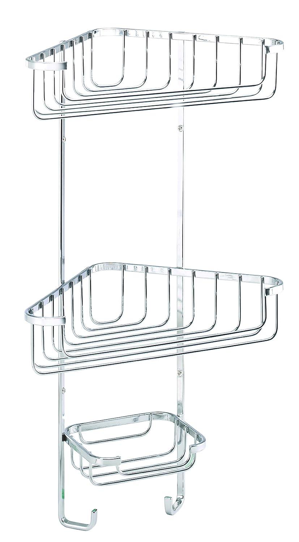 Tier basket shower caddy mild steel rust free stick n lock bathroom - Croydex 3 Tier Corner Storage Basket Chrome Amazon Co Uk Kitchen Home