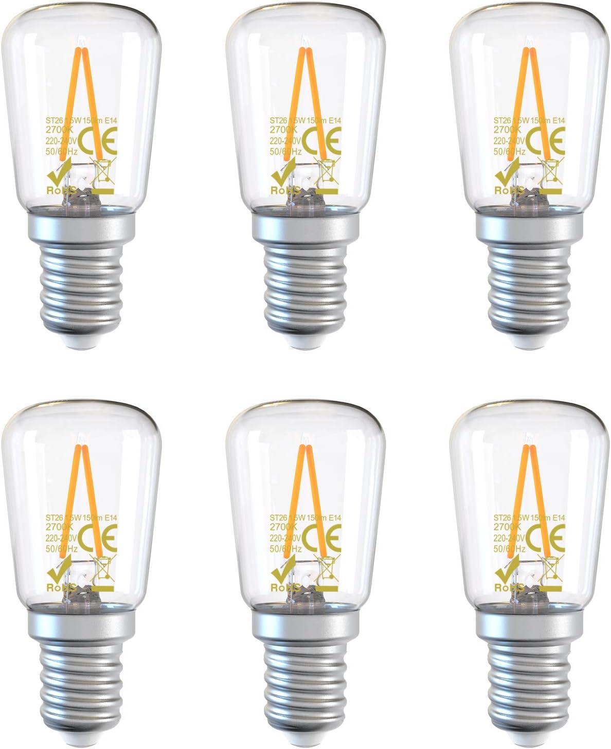 DGE E14 1.5W=15W Bombillas Filamento LED,150Lm 2700K LED Bombillas Refrigerador/Campana Extractora, No Regulable,Paquete de 6[Clase Eficiencia Energética A++]