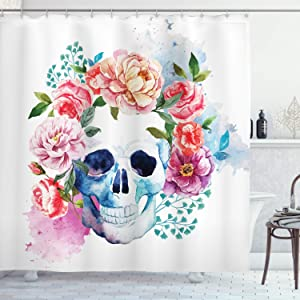 """Ambesonne Skull Shower Curtain, Funny Skull with Colorful Floral Head Victorian Style Dead Skeleton Graphic Art Print, Cloth Fabric Bathroom Decor Set with Hooks, 70"""" Long, Brown White Grey"""