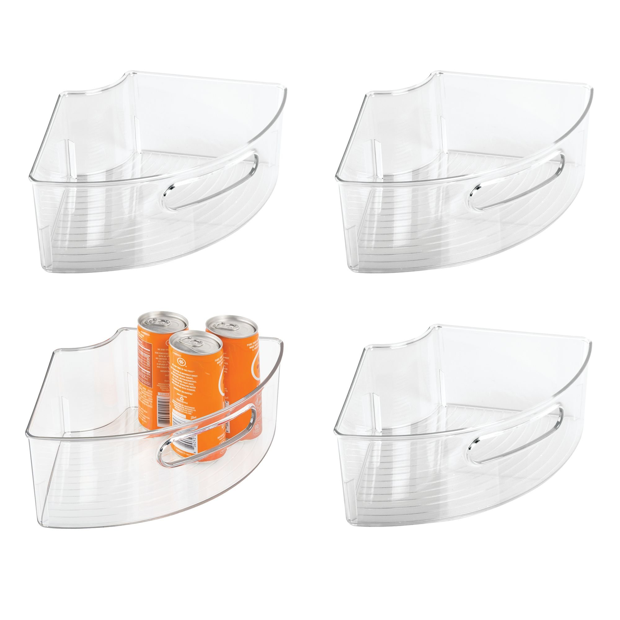 mDesign Kitchen Cabinet Lazy Susan Storage Organizer Bin with Front Handle - Small Pie-Shaped 1/4 Wedge, 4'' Deep Container – Food Safe, BPA Free - Pack of 4, Clear