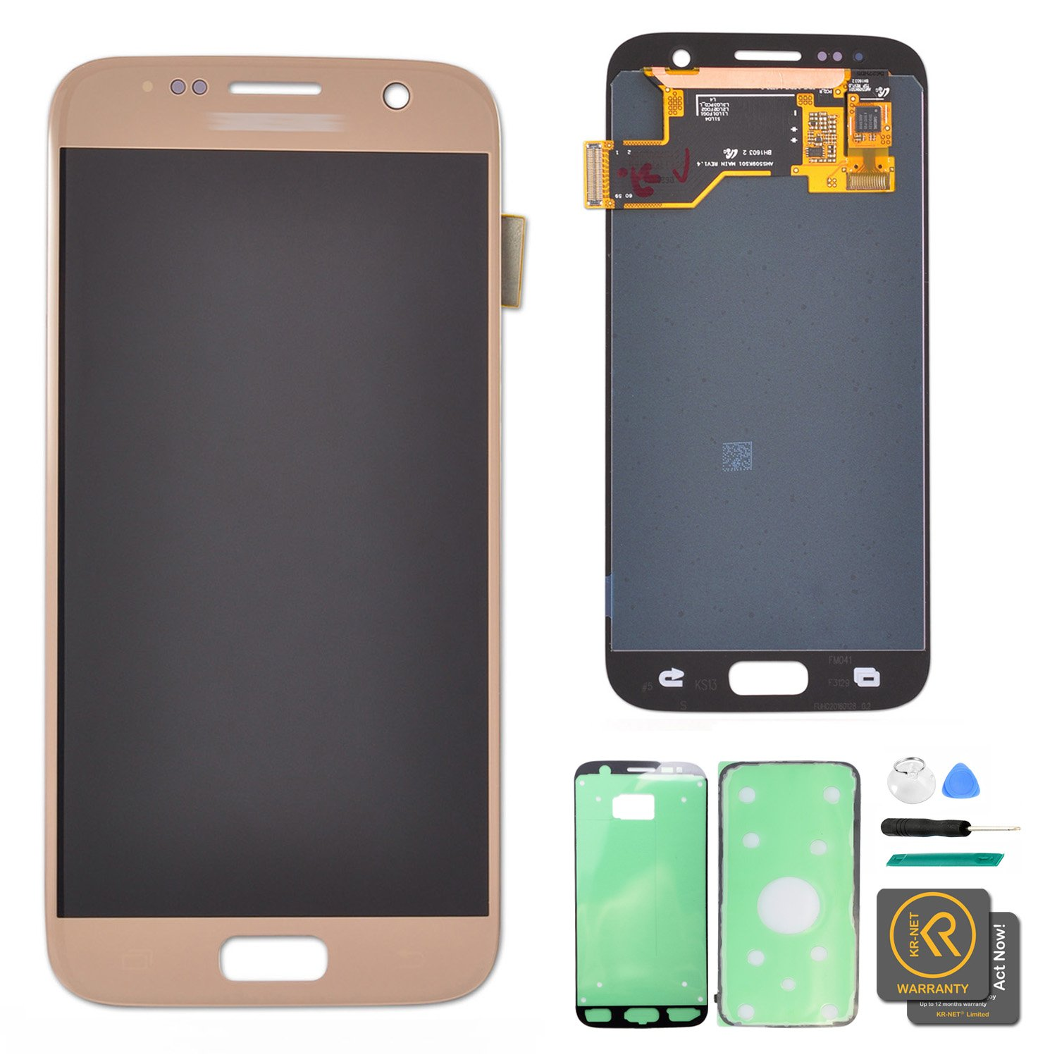 KR-NET LCD AMOLED Display Touch Screen Digitizer Assembly for Samsung Galaxy S7 G930 G930F G930A G930V G930P (Gold Platinum) + Tools