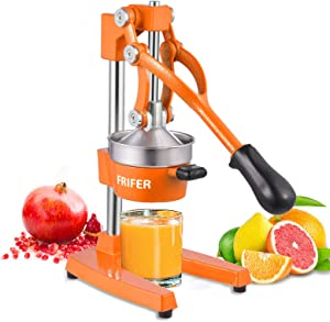 Frifer Manual Citrus Juicer Hand Press,Commercial Orange Lemon Juicer Squeezer Heavy Duty Cast Iron Fuselage and Base,Stainless Steel Funnel&filter screen,Durable and Easy to Clean(Orange)