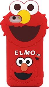 iPhone 6s Case, iPhone 7 Case, iPhone SE 2020 Case, Cute 3D Cartoon Sesame Street Shockproof and Protective Soft Silicone Case Cover for Apple iPhone 6/ 6s/ 7/ 8 4.7-Inch (Red/Elmo)