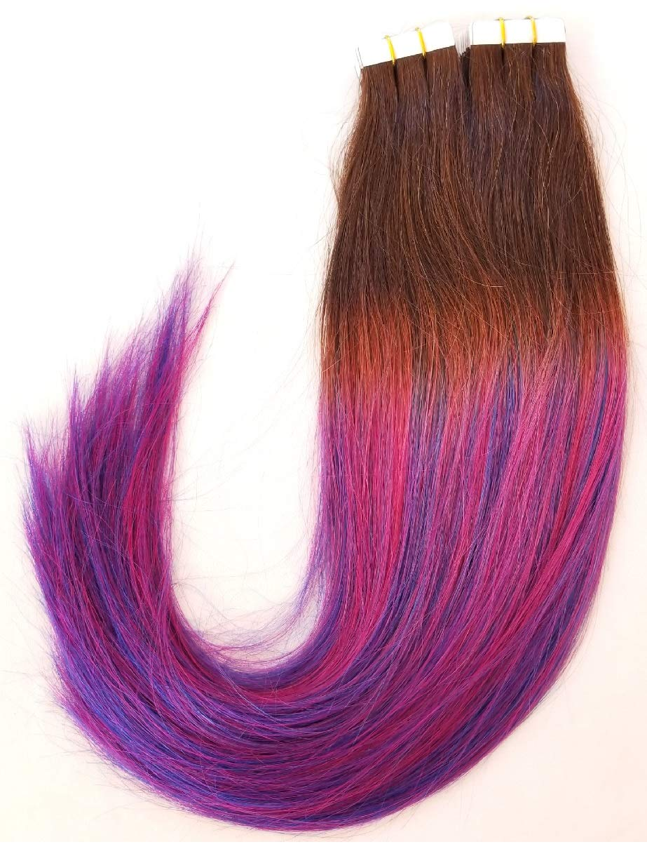 Hair Faux You 20'' Tape in Hair Extensions Remy Human Hair Glue in Extensions Color #Unicorn T2-Magenta, Blue,Purple, Balayage Ombre Highlighted 100g 40Pcs/Package by Hair faux You