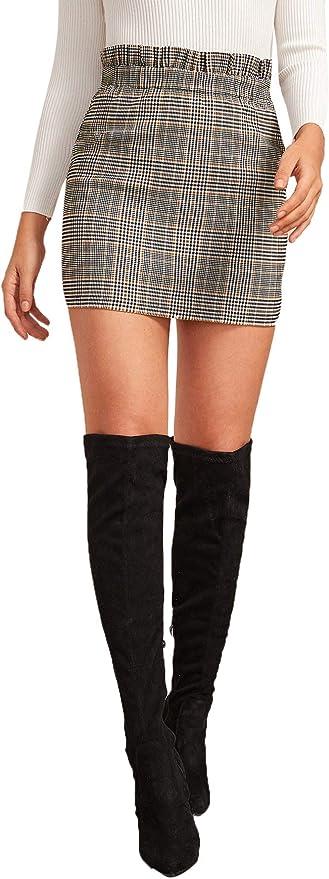 DIDK Femme Mini Jupe Courte Imprimé à Carreaux Ecossais Jupe Zippée Taille Haute Jupe Moulante Plaid Skirt