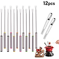 "GENWEI 12PCS/9.5"" Stainless Steel Fondue Forks, Heat Resistant Handle, Hot Pot Forks for Chocolate Cheese Fondue Roast Marshmallow Picnic and Camping"