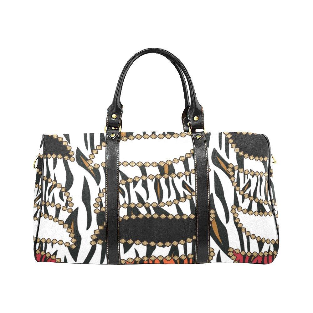 Waterproof Travel Duffel Bag Womens Weekend Bag African Tiger Skin Mens Luggage Bag For Gym Sports Overnight Trip