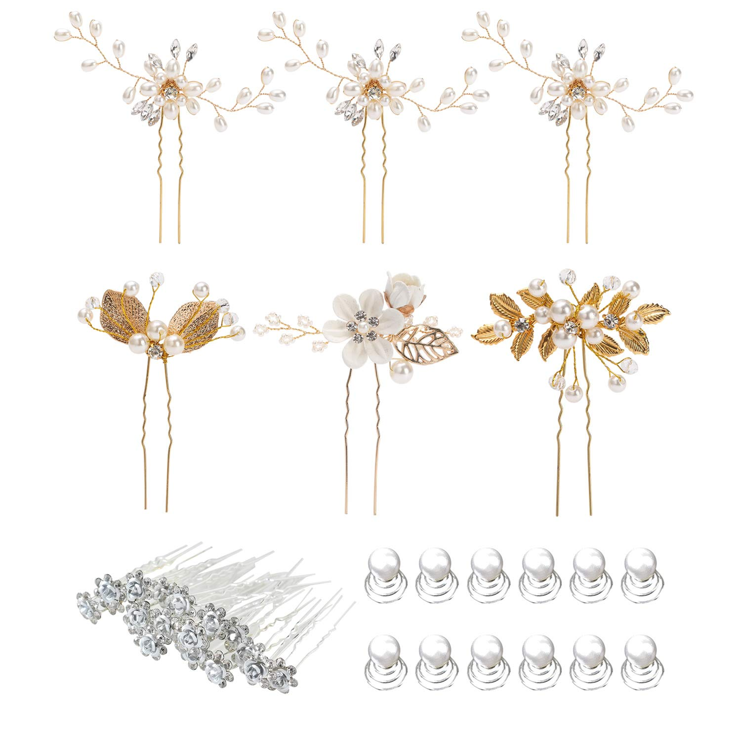 38 Pack Women Wedding Bridal Bride Hair Clips Side Combs Gold Decorative Bobby Pins Barrettes Vines Party Prom Headpiece Hairstyle Accessories Vintage Crystal Rhinestone Pearl Flower Ivory Silver Gold by Angla