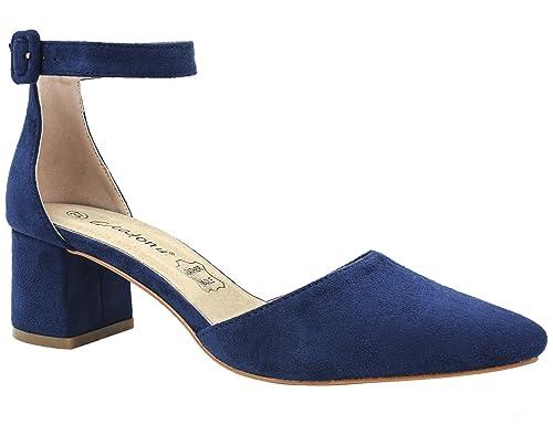 Greatonu Zapatos de Tacón Ancho Azul Espigón Suede Modo de Fiesta para Mujer Tamaño 36 EU