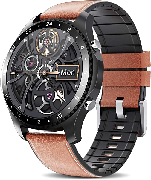 Smart Watch with Call,Health and Fitness Smartwatch with Heart Rate Blood Pressure SpO2 Monitor Sleep Tracker,App Message Reminder,Music Control,Waterproof Smart Watch for Android iOS Phone (Brown)