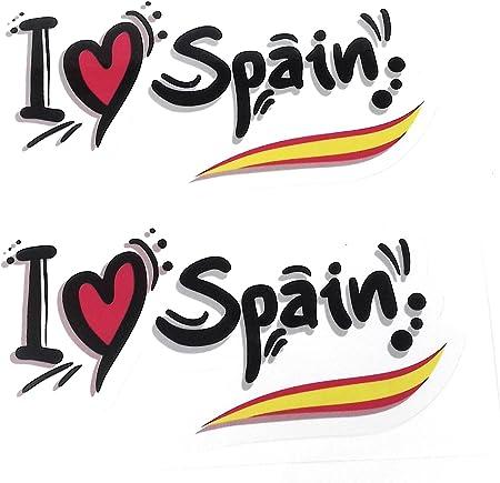 Pegatina I Corazón Spain con Bandera de España, Adhesiva 2 Unidades largo 13 cm: Amazon.es: Coche y moto
