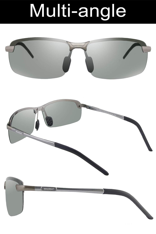 WHCREAT Gafas De Sol Polarizadas Fotocromáticas Para Hombre Para Conducir Deporte Al Aire Libre con Bastidor AL-MG Ultraligero - Metálico Gris Marco Gris ...