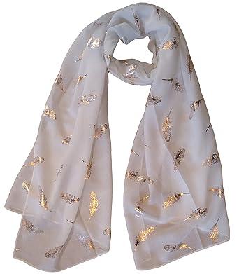59c7151c7 GlamLondon Feathers Scarf Rose Gold Glitter Foil Feather Print Ladies Party  Wedding Fashion Wrap (Creamy White): Amazon.co.uk: Clothing