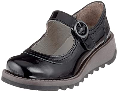 50be0e373 FLY London Girl's Siko K Patent Leather Mary Jane Wedge Shoes Junior 2.5/35  Black