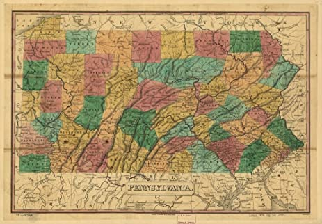 Amazoncom Vintage Map Of Pennsylvania Shows Roads Canals - 1829 us map