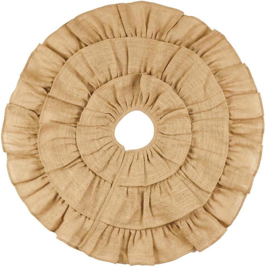 """Burlap Triple Ruffle Tree Skirt (36"""")"""