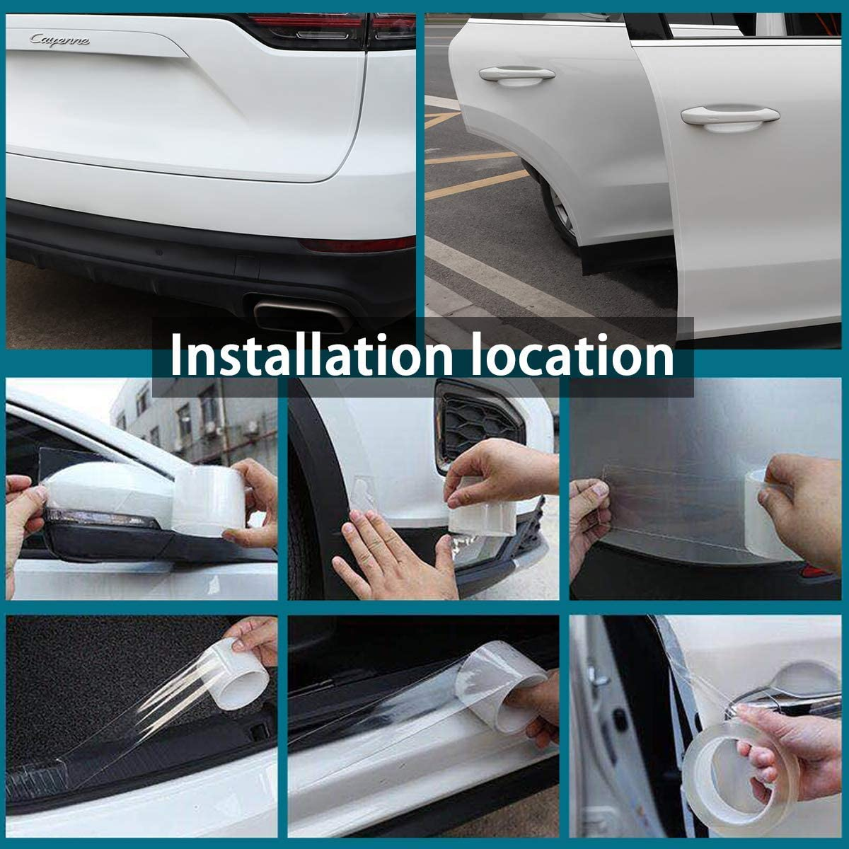 1.97inW WeTest Car Door Edge Guards Clear Seal Strip,Door Entry Guards Scratch Transparent Cover Fits for Most Car 33ft