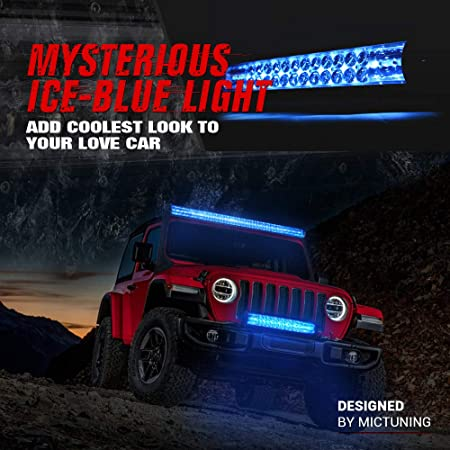 Amazon.com: MICTUNING Magical M1s 52 Inch Aerodynamic LED Light Bar (Upgraded) with IceBlue Accent Light, Exclusive Curved Lens Wind Diffuser and Wiring ...