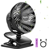 Anglink Clip on Fan for Stroller, Rechargeable Battery Operated Small Clip on Desk Fan, 4 Adjustable Speeds, Black