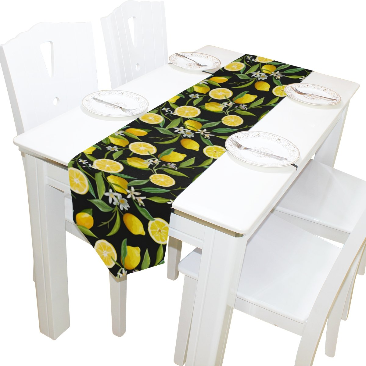 ALAZA Table Runner Home Decor, Stylish Yellow Lemon with Floral Table Cloth Runner Coffee Mat for Wedding Party Banquet Decoration 13 x 90 inches