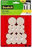 Scotch Felt Pads, Round, Beige, Assorted Sizes, 36 Pads/Pack (SP842-NA)