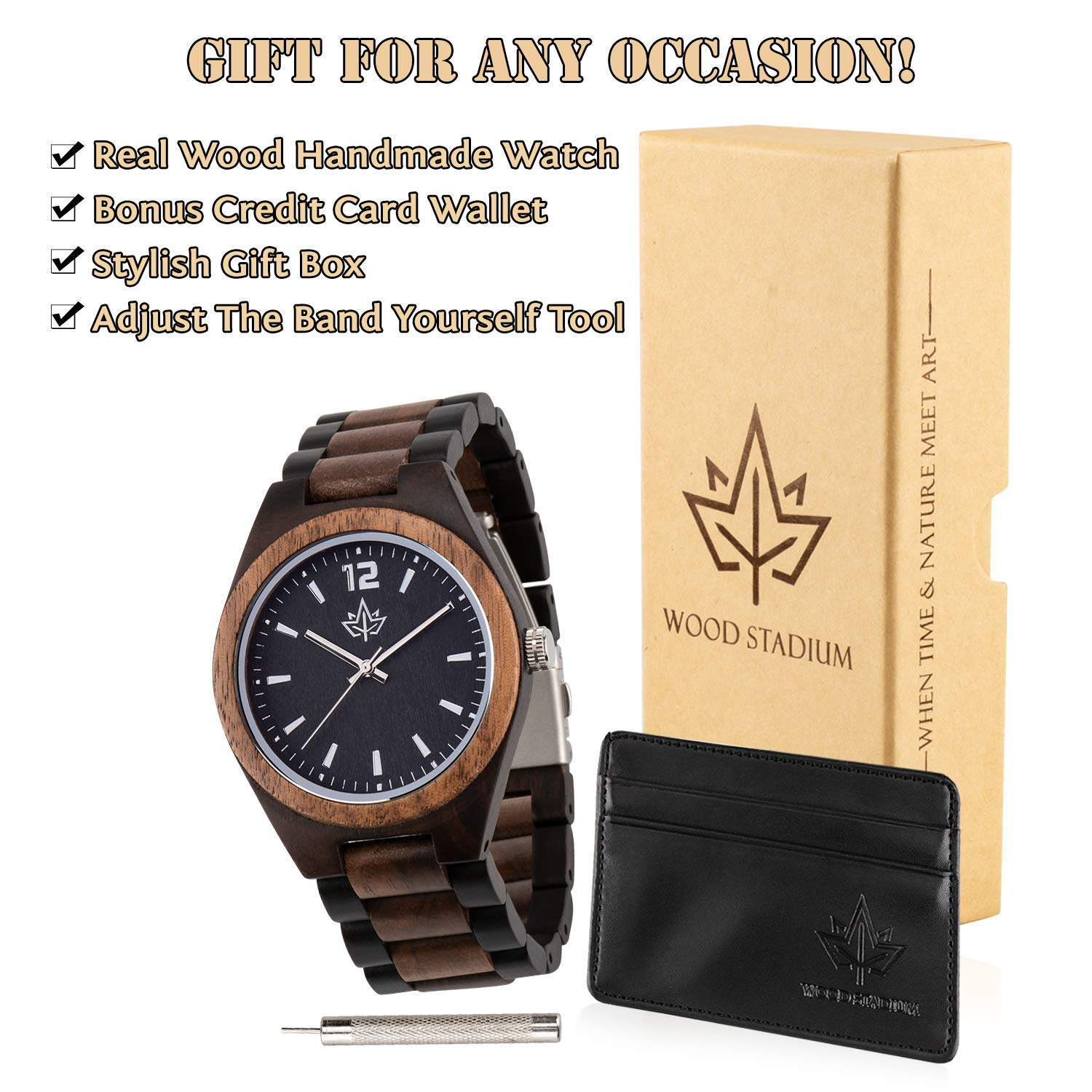 Wooden Watch for Men - Watch and Strap Made of Walnut and Ebony. Large Easy to Read Face. Japanese Quartz Movement. Casual and Sporty. Bonus Credit Card Holder in a Stylish Gift Box. by Wood Stadium