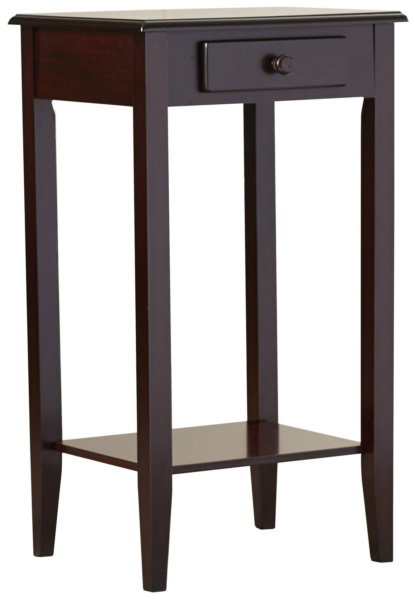 Indoor Plant Stand, Wood Pedestal Telephone Table With Storage Drawer, Brown Cherry Finish, Contemporary Style