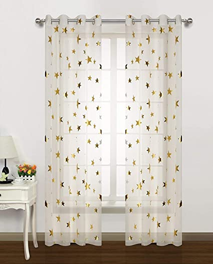 Gold Star Print Curtains for Nursery Kids Bedroom Cute Twinkle Stars with  White Trasparent Voile Window Drapes for Living Room Grommet 2 Panels 54 W  ...