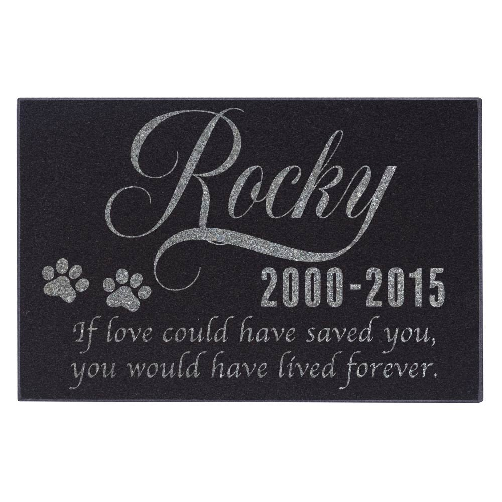 Personalized Pet Memorial Stone Customized Memorial Stone for Loved One's Sympathy Gift - Indoor-Outdoor Headstone Granit Pet Memorial Stone Personalized Dog/Cat Grave Marker 12'' x 8'' #S1