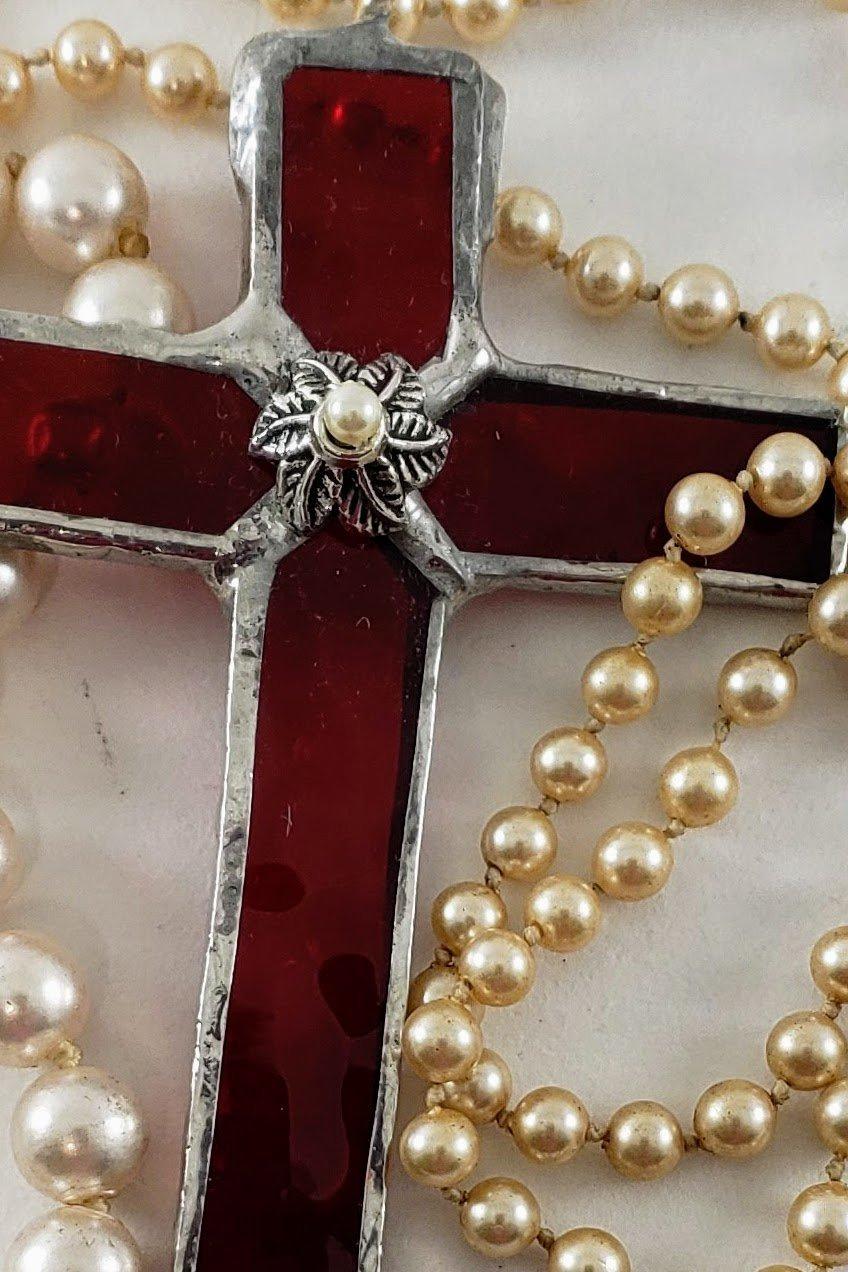 Handmade Mini Cross Ruby Red Stained Glass Suncatcher Pearl Beads Christian Ornament