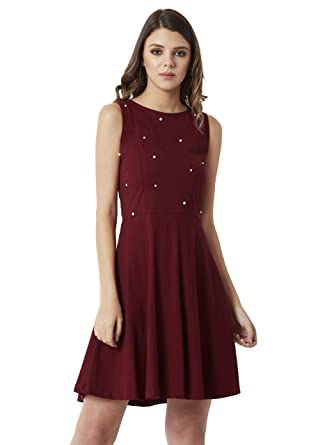 7031efaec6 Miss Chase Women s Maroon Pearl Cut-Out Skater Dress(MCAW18D11-94-143