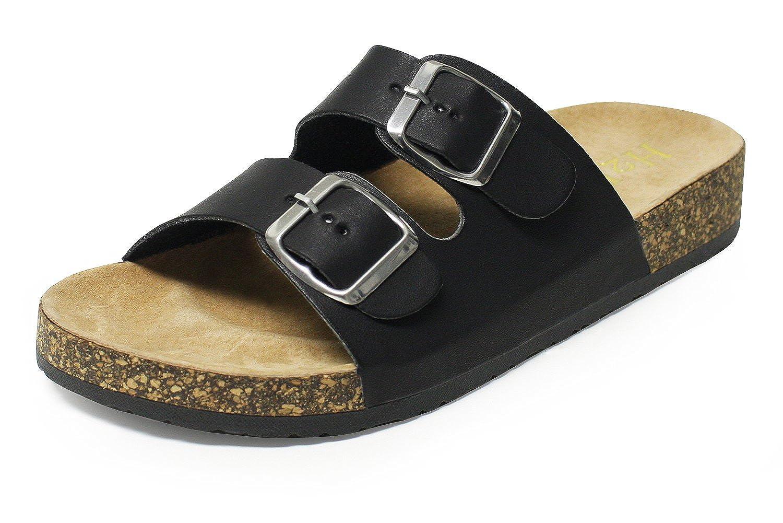 H2K 'KAREN JUNIOR' Kids Fashion Comfy [Soft Genuine Leather Footbed] Slip-On Slide Sandals Flip-Flops