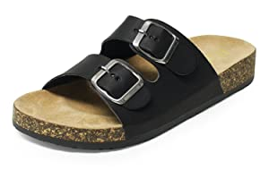 Slide Sandals for Women, H2K 'KAREN' Women's Summer Comfy Leather Footbed Slide Sandals Slip-On Flat Slippers Flip Flops Shoes Adjustable Buckled Straps - Black and Beige, Size 12 M [US Size]