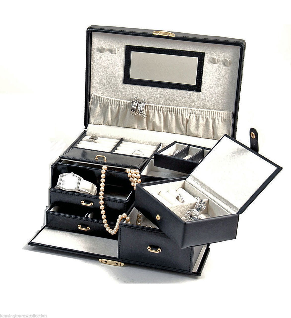 ''INVERNESS'' BLACK LEATHER JEWELRY BOX WITH REMOVABLE TRAVEL CASE