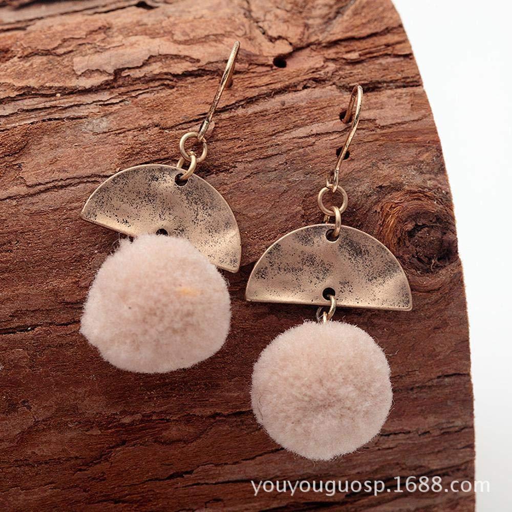 Ludage Earrings, Alloy Earrings 4718mm European and American Handmade Creative Hair pom Pendant Retro Earrings