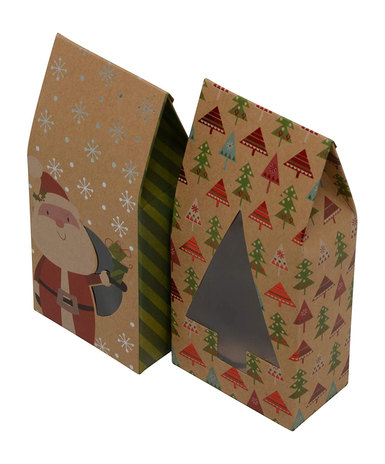 Christmas cookie tent boxes; foldable with matching stickers; set of 12 boxes (Style A) Kraft King