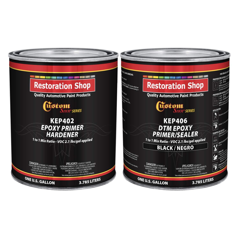 Custom Shop - Black Epoxy Primer/Sealer 2.1 VOC (2-Gallon Kit) Anti-Corrosive DTM High-Performance Primer for Automotive and Industrial use Kit= 1 Gal. Epoxy Primer +1 Gal. Epoxy Hardener (1-1 Mix)