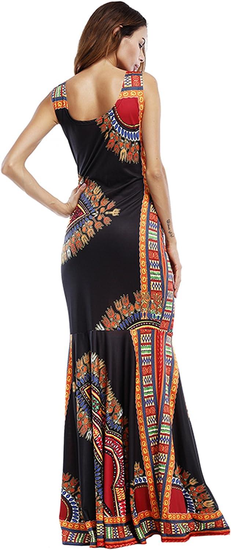 GladThink Donne Africano Caftani Culturale Vestito Lungo Maniche