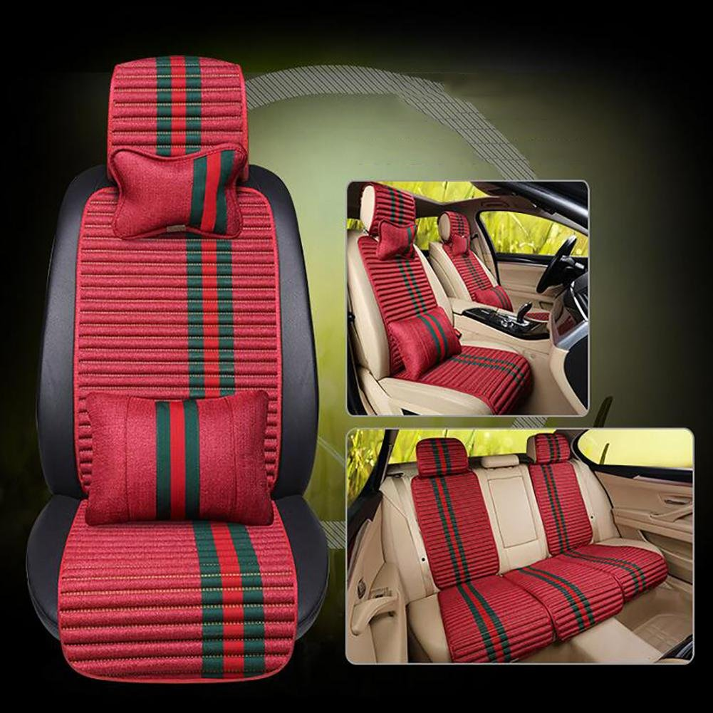 MIAO Car Seat Cushions Cover?Five Seats Cars Universal Four Seasons Comfort Linen Breathable Car Cushion , red