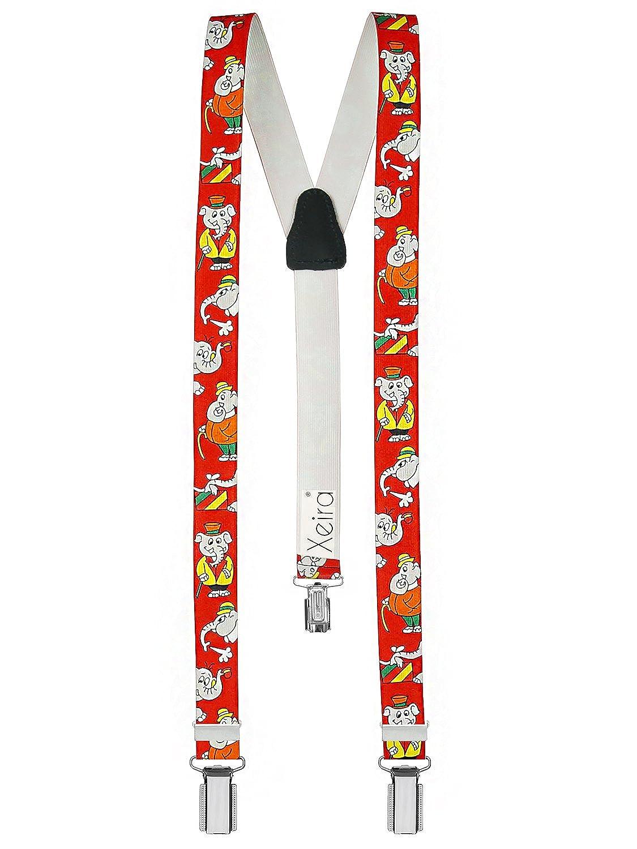 Xeira  Bretelles pour enfants de haute qualité avec empiècement en vrai cuir éléphant Design/Jaune / Rouge/Bleu