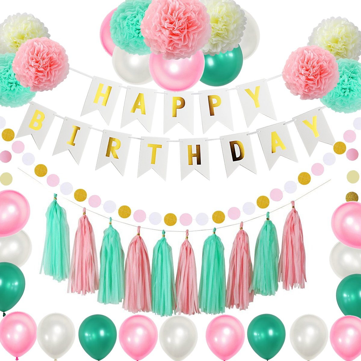 75pcs Pink Mint Birthday Party Decoration Pack - Happy Birthday Banner - 21 Party Balloons -9 Paper Pom Poms - 10 Tassels - Dot Paper Garland Perfect For Girls Birthday Party Baby Wedding Bridal Show by Lillypet