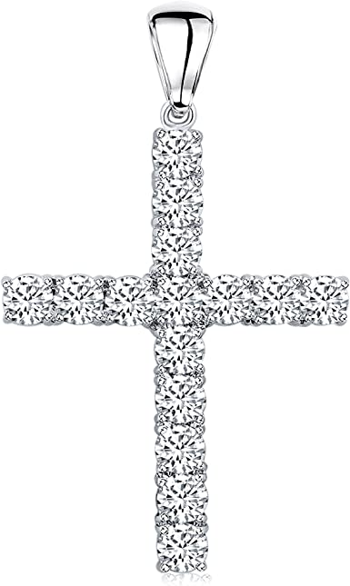Sterling Silver Rhodium-Plated Black CZ Stone w// Clear Center Stone Cross Pendant