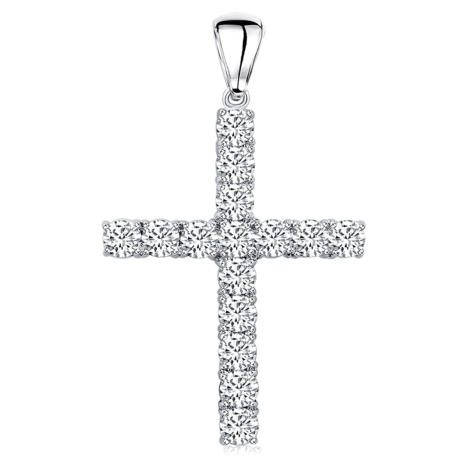 6a9b1e01b8673 Men's Sterling Silver .925 Original Design Iced Out Large Cross ...