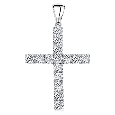 5deafdda4bb9 Men's Sterling Silver .925 Original Design Iced Out Large Cross Pendant  with Cubic Zirconia Stones