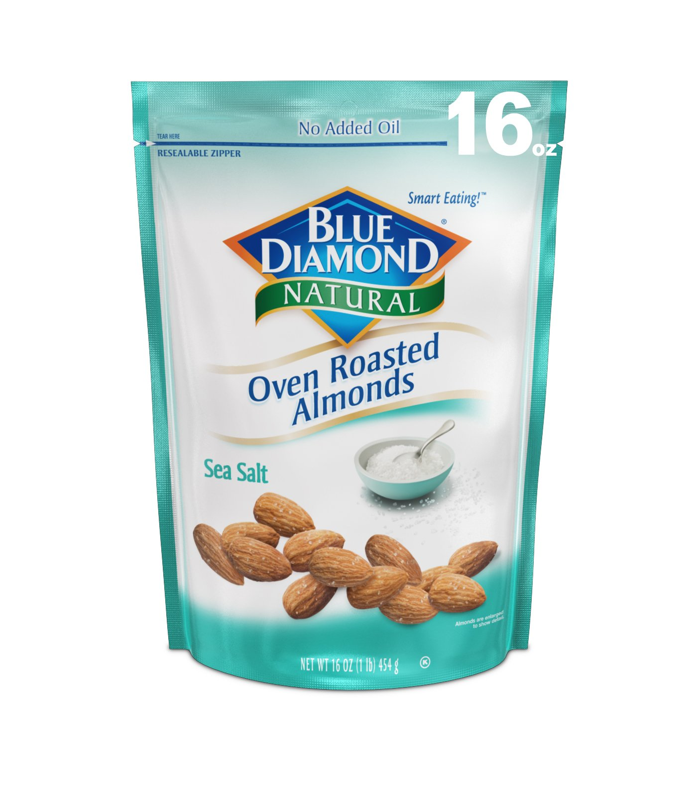 Blue Diamond Oven Roasted Almonds,Sea Salt, 16 Ounce
