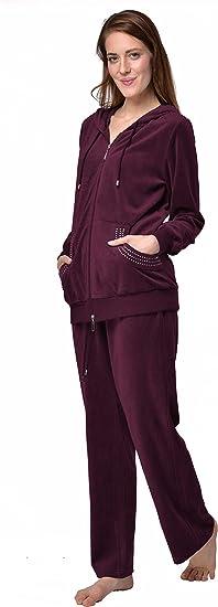 RAIKOU Hausanzug Damen Freizeitanzug Velours Nicki Schlafanzug Nicki-Anzug mit Samt Jogginganzug Trainingsanzug mit Rei/ßverschluss und Satinband