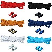 6 par band utan band skosnören med snabbförslutning elastiska skosnören med metallstängning No Tie Shoelaces gummi…