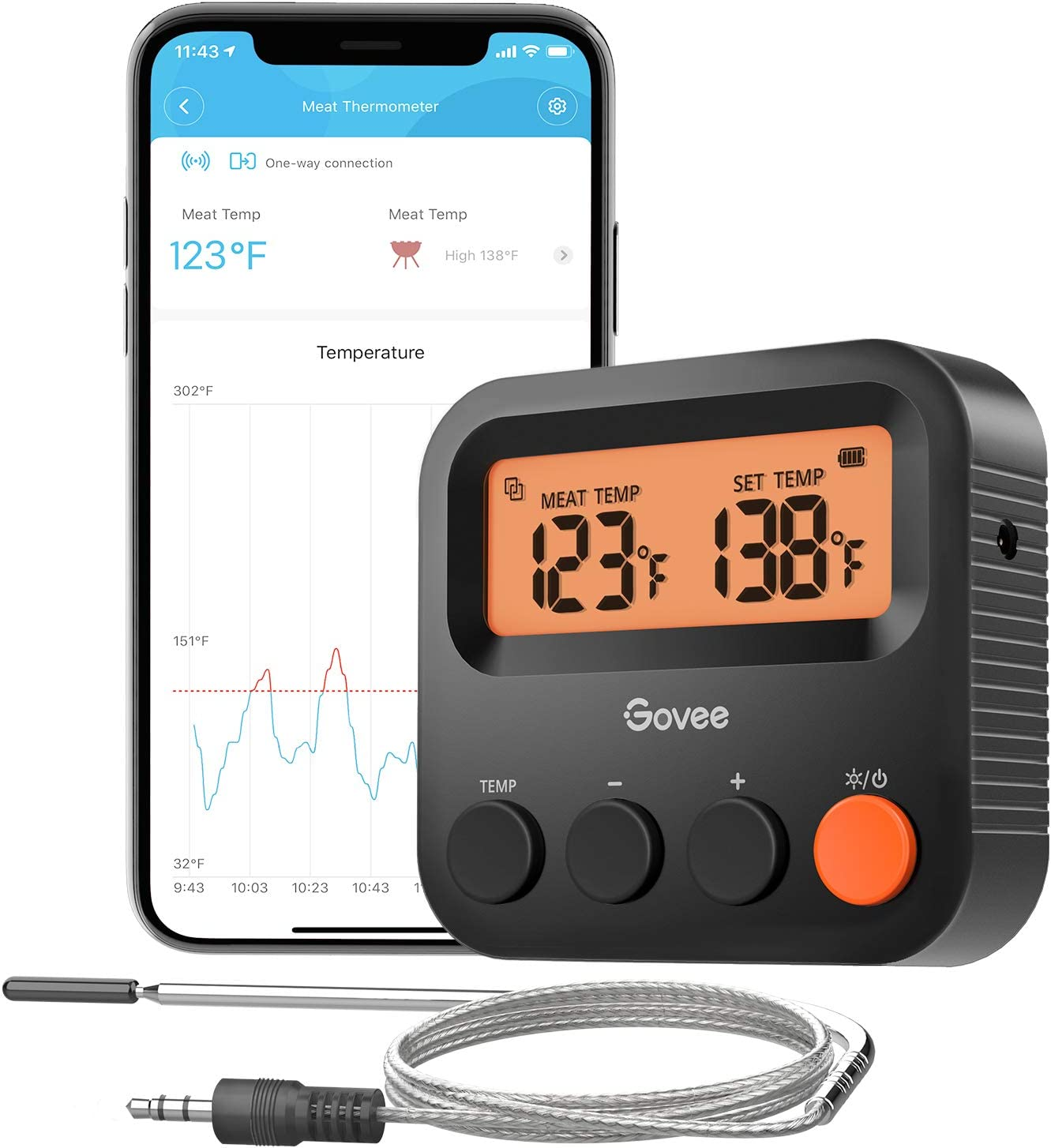 Govee Smart Meat Thermometer, Digital Bluetooth Food Thermometer with 1 Probe, LCD Backlight Screen, 230ft Remote Control, Alert Notification for Grill BBQ Smoker Oven