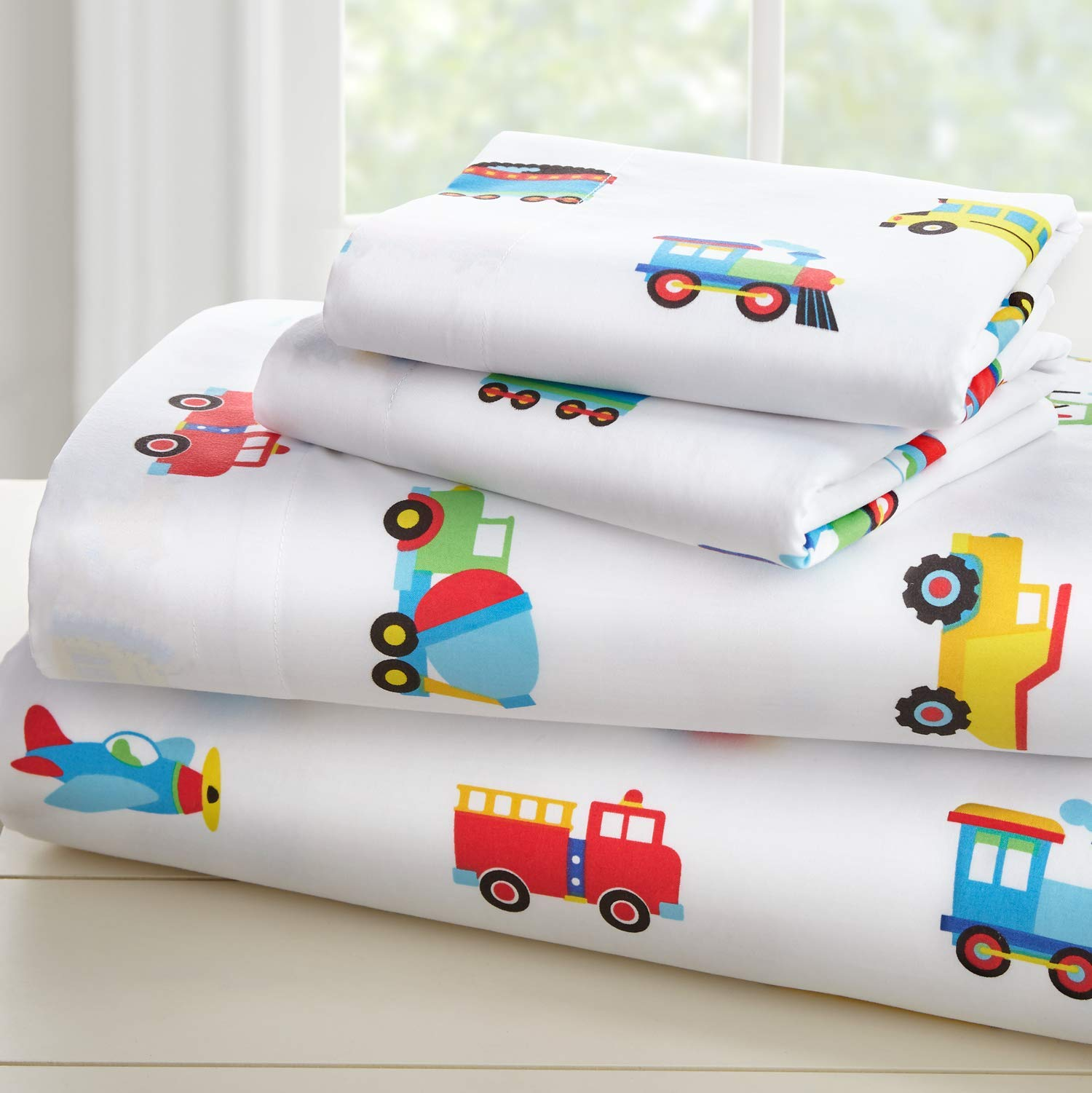 Wildkin Microfiber Sheets, Twin, Trains Planes Trucks by Wildkin