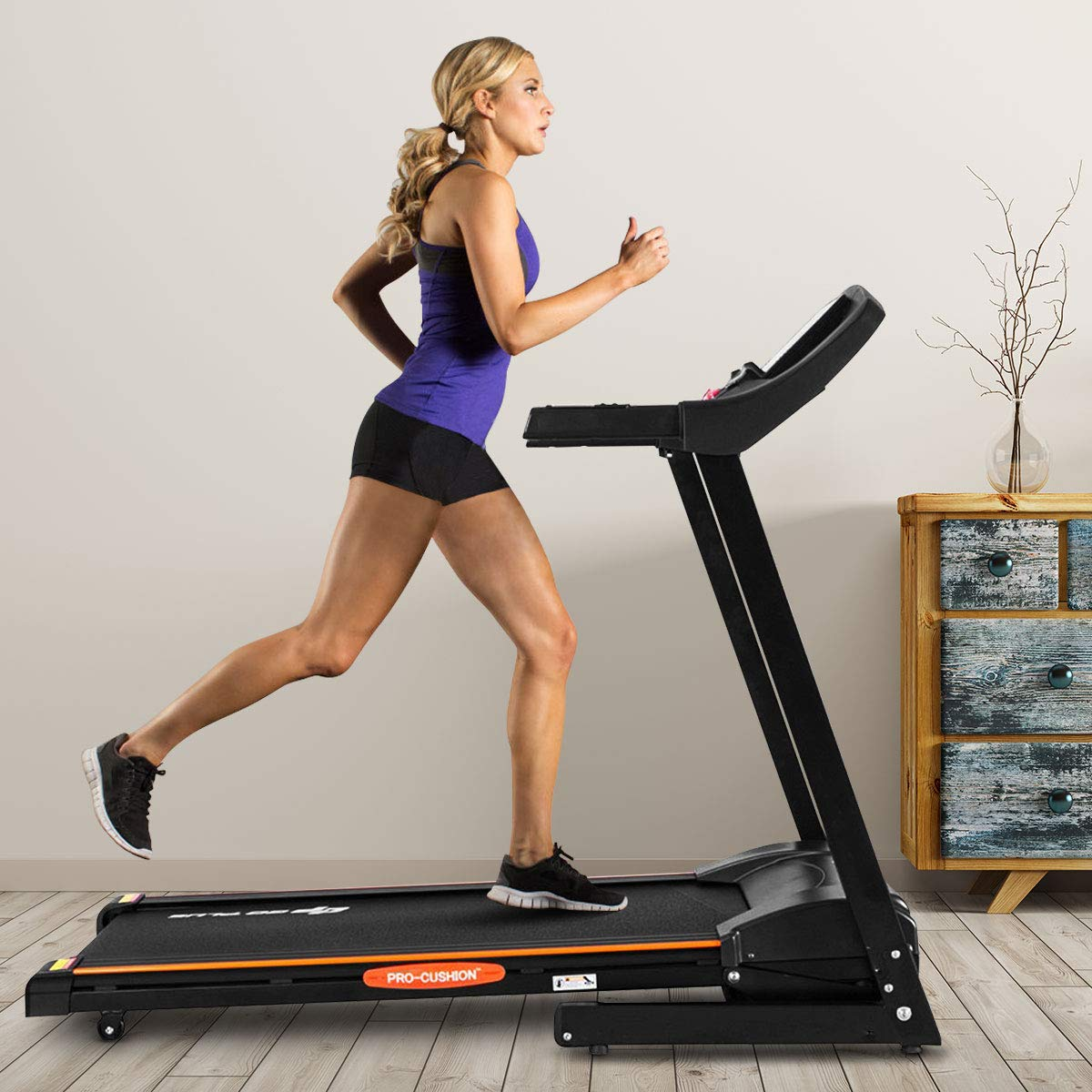 Goplus 2.5HP Electric Automatic Incline Treadmill, App Control and Large LCD Display, Foldable Jogging Walking Running Machine for Home Use